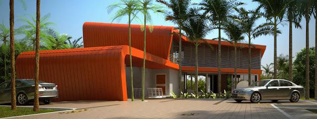 Imagen del renderizado de la casa en Malasia vista desde el acceso