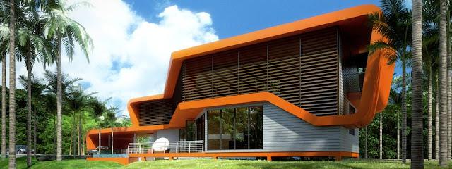 Imagen del renderizado de proyecto en Malasia casa Tropical