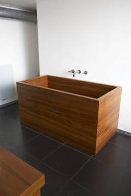 Tina de madera para baño