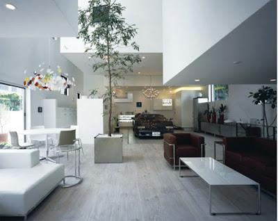 Sala de estar contemporánea de una residencia moderna en Japón