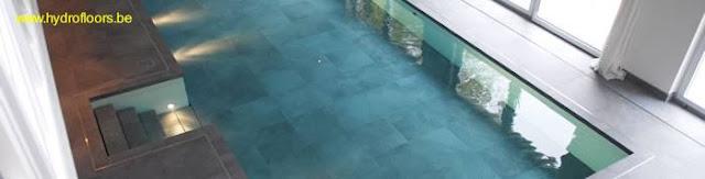 Piscina interior en el suelo descendido del salón