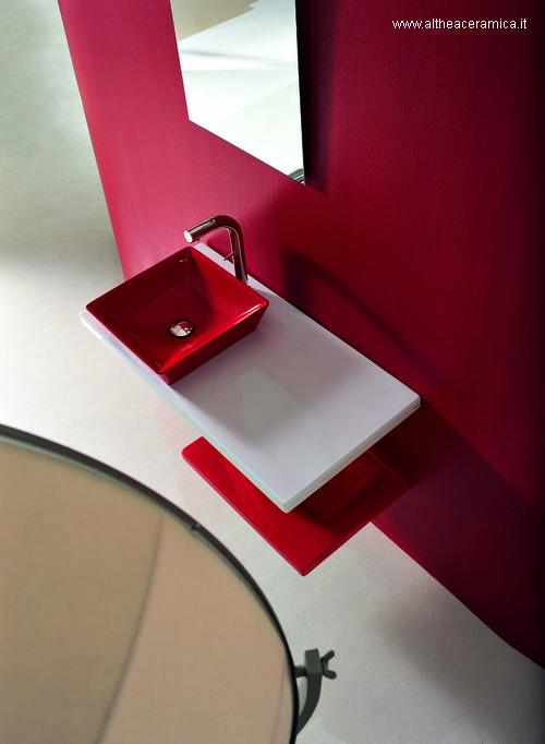 Baño Minimalista Rojo:Arquitectura de Casas: Lavamanos sanitarios en baños lujosos