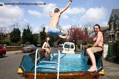 Instalación de piscina volquete