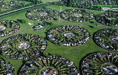 Urbanización en círculos de casas