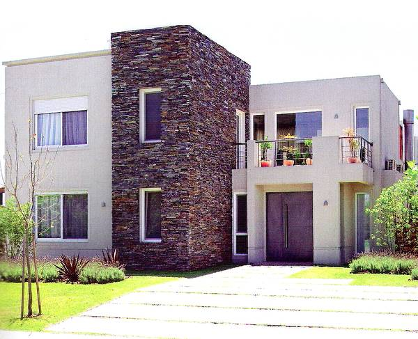 Arquitectura de casas fachadas recubiertas con piedra laja - Casas con fachadas de piedra ...