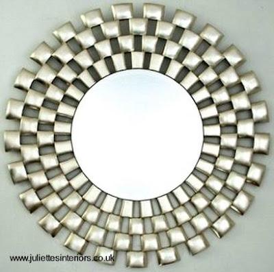 Arquitectura de casas espejos decorativos de interiores for Espejo redondo plateado