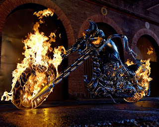 3D Blue Thorns Ghost Rider Bike Free Wallpaper