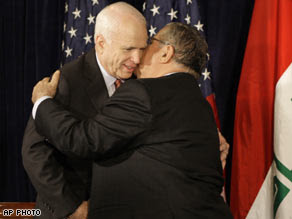 McCain and Talabani embrace