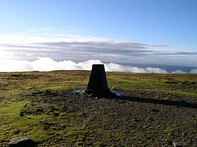The trig point on Ingleborough - surely one of the most visited trig points in the UK