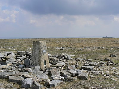 The trig point on Cross Fell, the highest trig point in the Pennines and still used as a passive station today