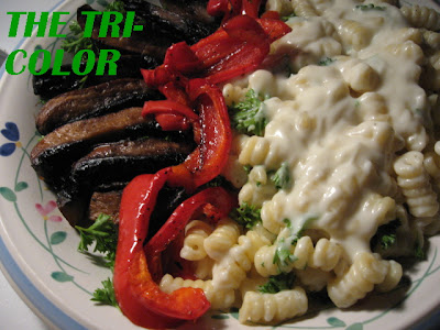portabello mushrooms four-cheese pasta roasted red peppers parsley tricolor