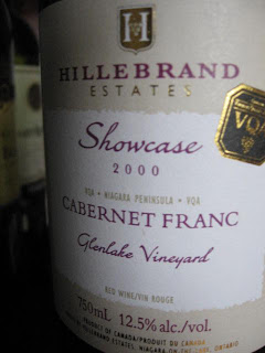 cabernet franc ontario varietal groux wine 2000 glenlake vineyard showcase label hillebrand estate winery
