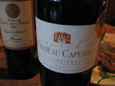 L'Esprit de Château Capendu Corbières 2005 et Borie de Maurel Esprit d'Automne Minervois 2005 toasts nut bread french foie gras from quebec perigord