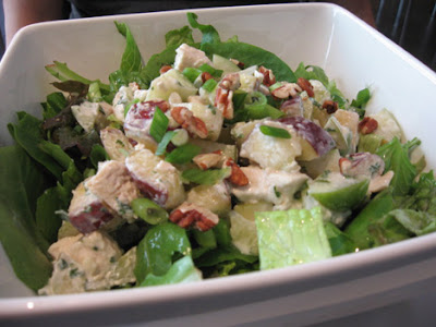 giant green salad with apples walnuts and blue cheese
