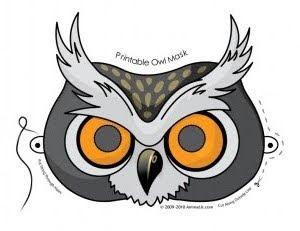 Lucrative image inside printable owl mask