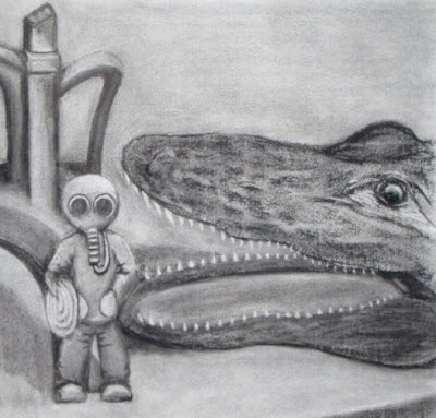 Charcoal drawing of an alligator head and vintage fish tank toys