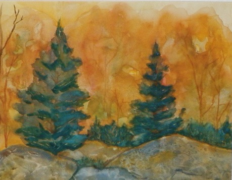 watercolor painting of fall trees