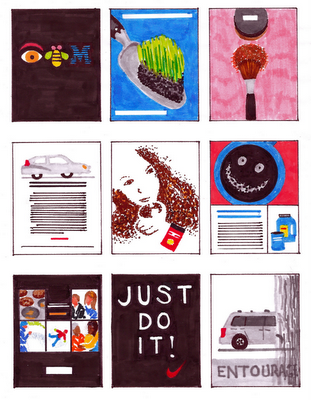 marker drawings of ads