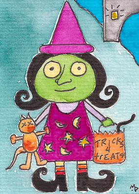 trick or treating Halloween witch drawing