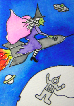 witch riding a rocket in space