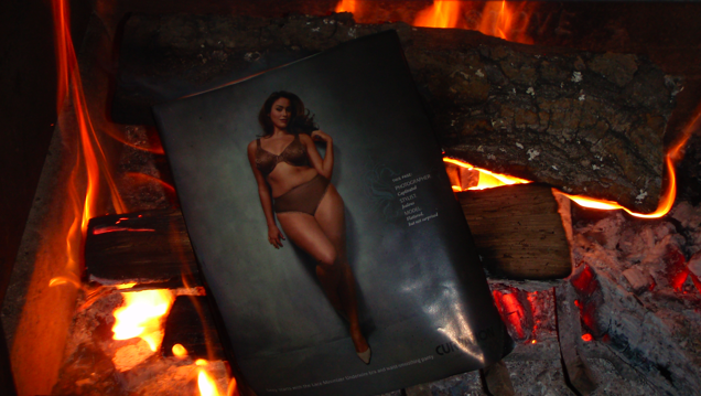 magazine burning in a wood stove