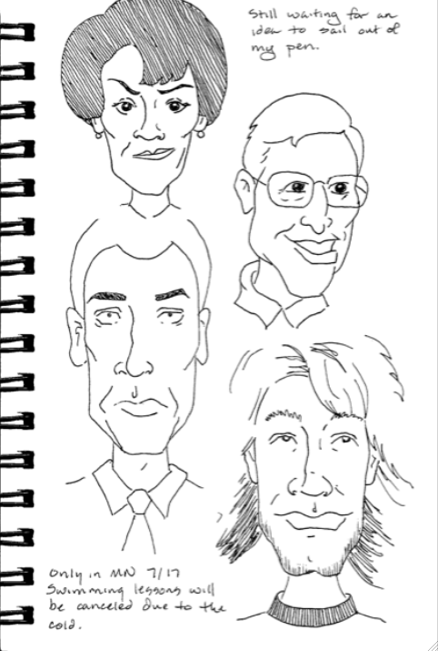 caricatures in an artist journal