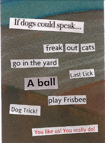 silly phrases glued onto a watercolor scrap of paper
