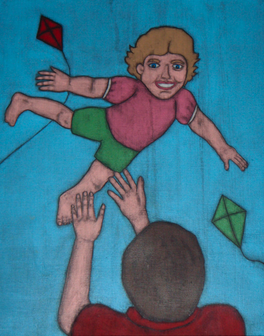 Painting of a girl flying through the air and her dad catching her.