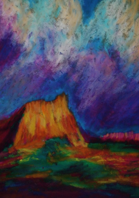 oil pastel painting of a bluff