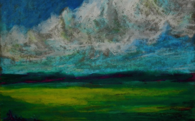 oil pastel landscape with clouds