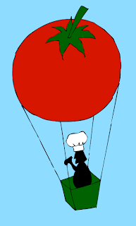 tomato hot air balloon with a chef passenger