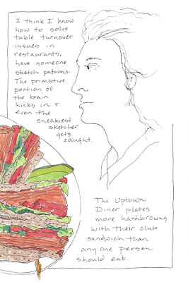 Ink drawing at a diner of food and a patron