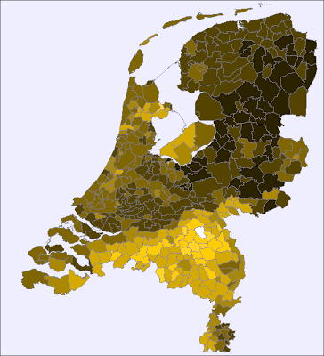 Distribution of the male first name Hendrik over The Netherlands