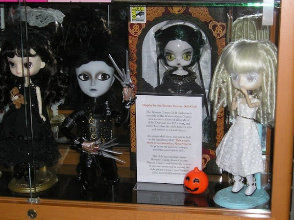 Halloween Dolls Displayed in a Local Library