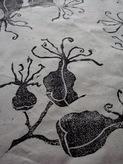 succulent blossom, hand printed fabric, block print