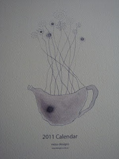 2011 calendar, sumi ink illustrations, mizu designs