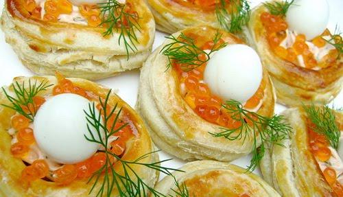 Волованы  - Гнёзда перепела - с красной икрой и пикантной сырной начинкой
