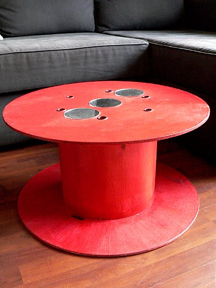 Les dedees  vintage, recup, creations TABLE BASSE  QUAND LA BOBINE FAIT SA -> Customiser Une Bobine De Cable