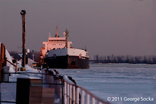 Algoma Ship Frozen In The Ice in Winter in Toronto Harbor