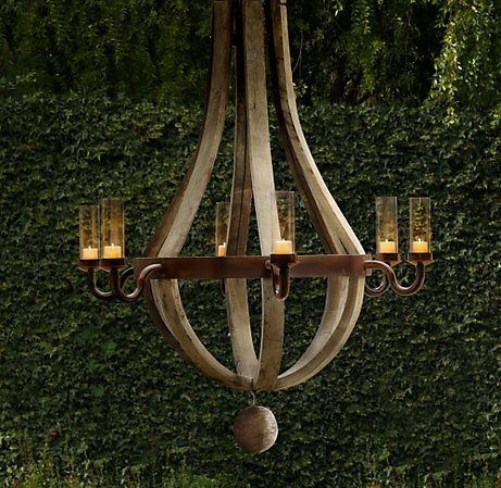 handcrafted in Poland from French oak wine barrels, outdoor chandelier by Restoration Hardware as seen on linen & lavender