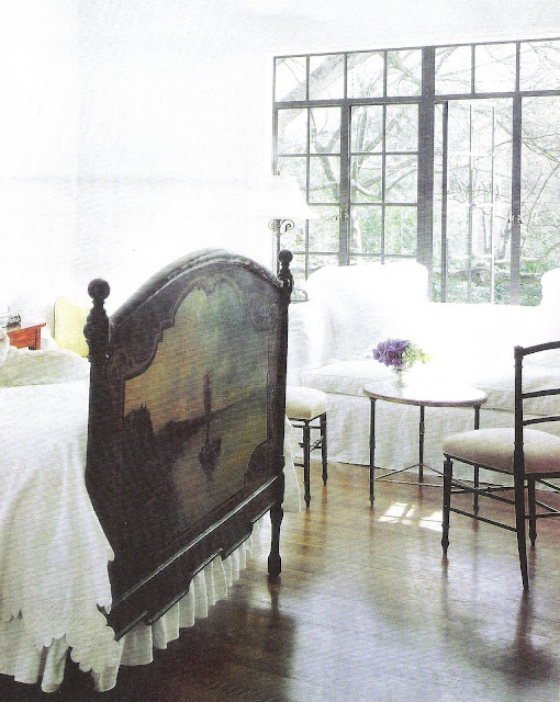 Italian painting, headboard, white coverlet edited by lb for linenandlavender.net