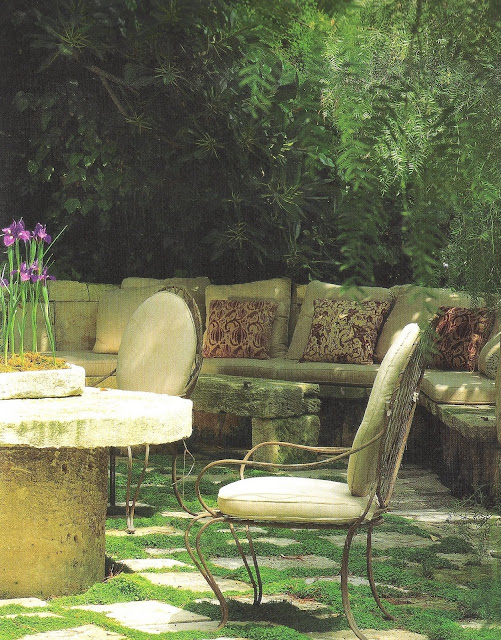 The Private House by Rose Tarlow, stone table outdoor sofa edited by lb for  linenandlavender.net, here:  http://www.linenandlavender.net/2009/08/and-livin-is-easy.html