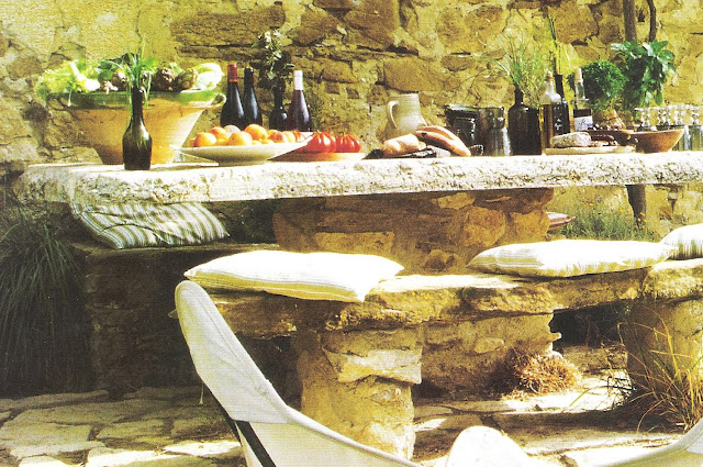 Ct Sud, stone table and bench, edited by lb for  linenandlavender.net, here:  http://www.linenandlavender.net/2009/08/and-livin-is-easy.html