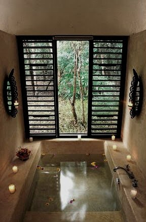 Soaking Tub, L'Hacienda Uayamon as seen on linenandlavender.net, here: http://www.linenandlavender.net/2010/08/blog-post.html