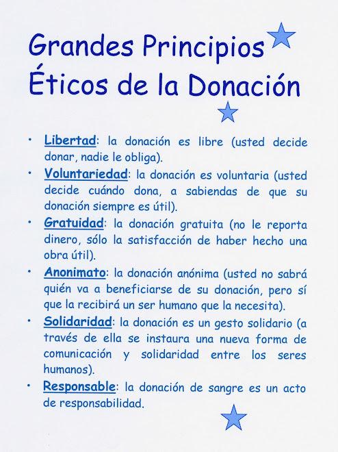 GRANDES PRINCIPIOS ÉTICOS DE LA DONACIÓN