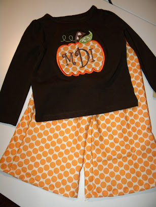 Fall Pumpkin Applique Shirt with Flare Pants