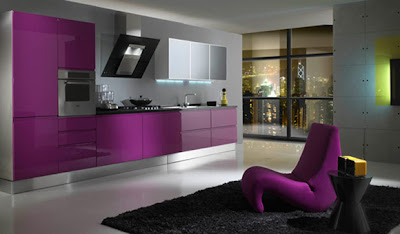 Decoration Modern Kitchen Designs with Shades of Purple