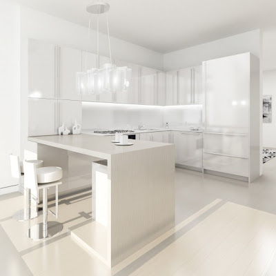 21 Modern Futuristic White Kitchens Design