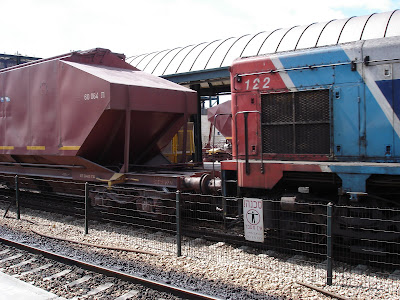 Freight train passes through Binyamina train station