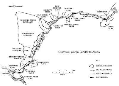 Cromwell Gorge Landslide Areas